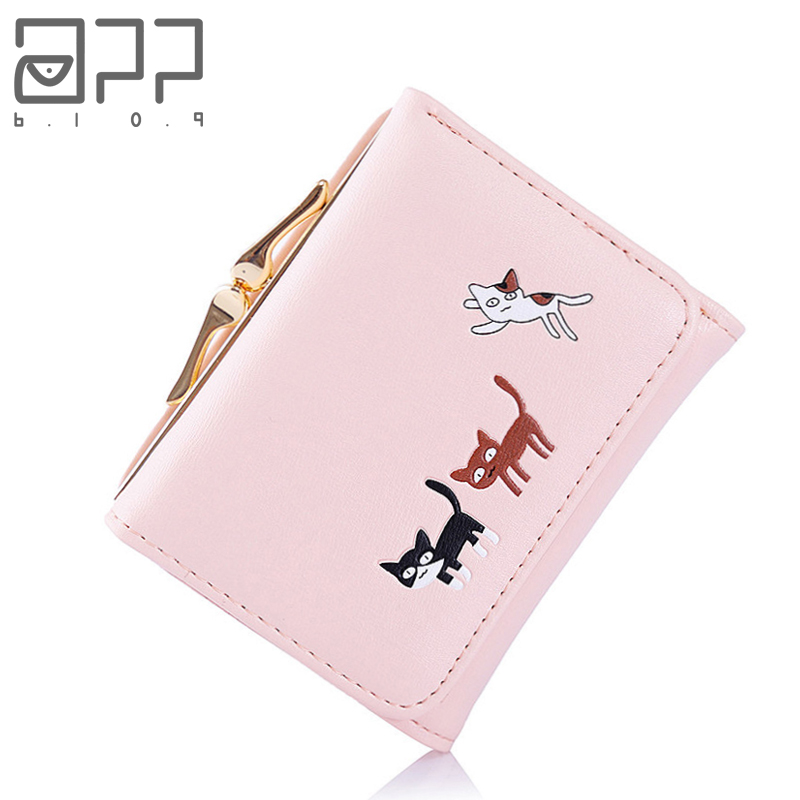 APP BLOG Brand Cute Cat Women's Purse Fashion Korean Small Slim Mini Clutch Female Girls Trifold Leather Wallet Card Holder Bags