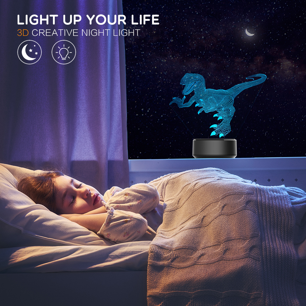 3d Led Night Light Animal Shape 7 Colors Table Night Light For Home Decoration Amazing Visualization Optical Illusion Touch Lamp
