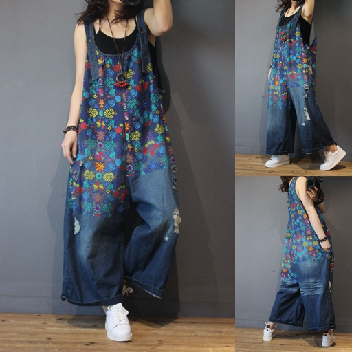 Spring Summer Women Casual Loose Plus Size Vintage Print Adjustable Suspender Strap Wide Leg Pants Denim Playsuits