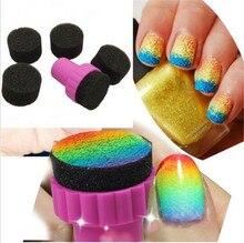 1 Set DIY Nail Art Design Stamping 1 Stamper + 4 Changeable Sponge Shade Transfer Makeup Beauty Tools