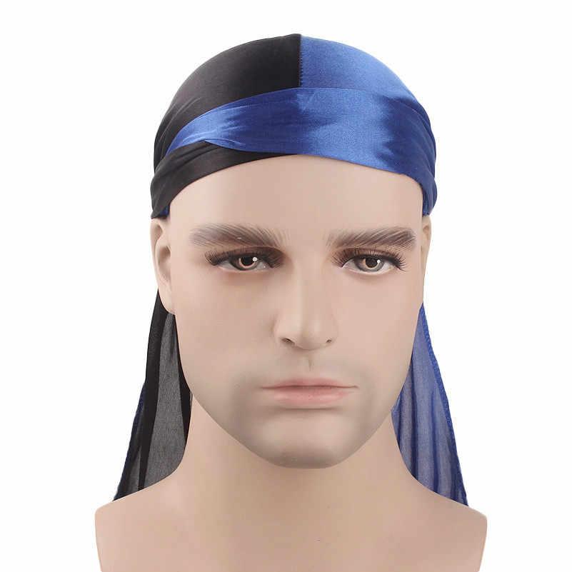 Patcchwork Pria Durags Hip Hop Bandana Bajak Laut Cap Du Doo Rag Halus Durag Ikat Kepala Hiasan Kepala Ekor Panjang Rambut Wanita aksesoris