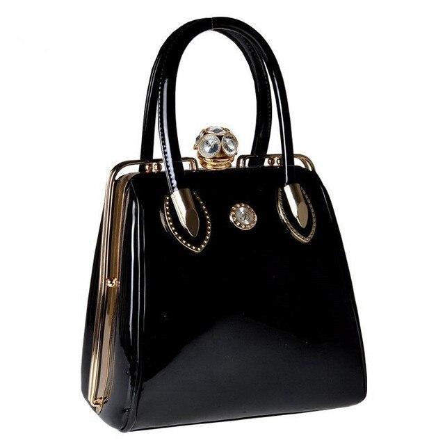 2017 Fashion Skull Diamonds Patent Leather Women Bag Crystal Ladies Evening Bag Bride Tote Bag women's handbags Brand Designer
