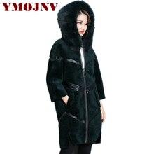 YMOJNV 2017 New Fashion Women's Sheep Shearing Fur Jacket Female Wool Coat Winter Long Woolen Coat High-end Fashionable Fur Coat