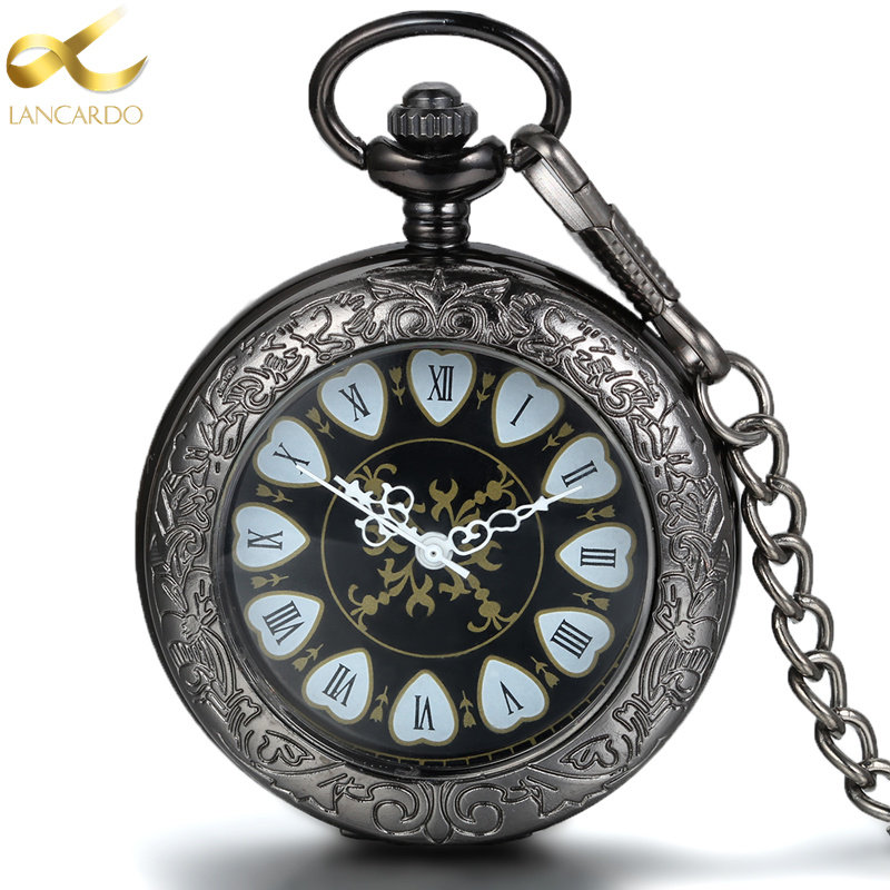 c4708fdc1c9d61 Lancardo Heart Roman Dual Display Gift Antique Pocket Watch Pocket Watch  Retro Quartz Machinery Watch For