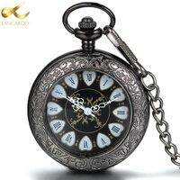Lancardo القلب الروماني العرض المزدوج هدية العتيقة ساعة الجيب ساعة الجيب الرجعية الماكينات الكوارتز ووتش للرجال والنساء