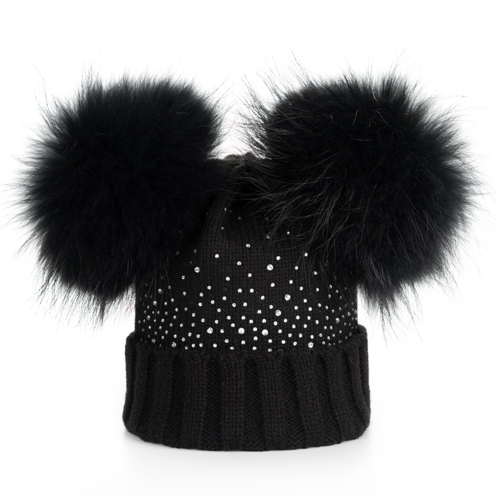 b62c6cff55a LAURASHOW Winter Baby Real Mink Fur Ball Beanie Thick Knit Hat Kids Warm  Raccoon Fur Pom