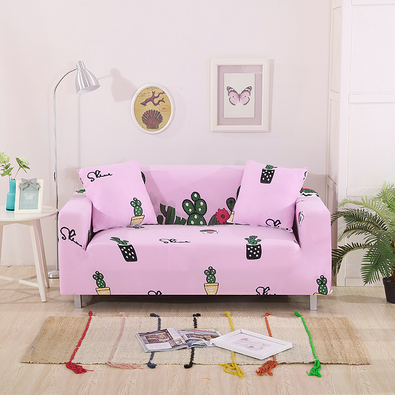 Cute Pink Cactus Printed Corner Couch Sofa Slipcovers
