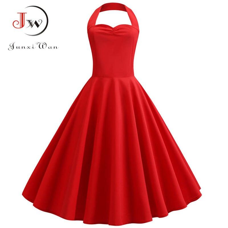 Women Sexy Red Halter Party Dress Vestidos Floral Print Vintage Dress Swing Elegant Plus Size Rockabilly Beach Sundress