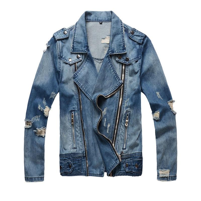 2018 New Mens Fashion High Street Zippers Jeans Jackets Casual black blue slim Streetwear Motorcycle Ripped Denim Jacket 4XL