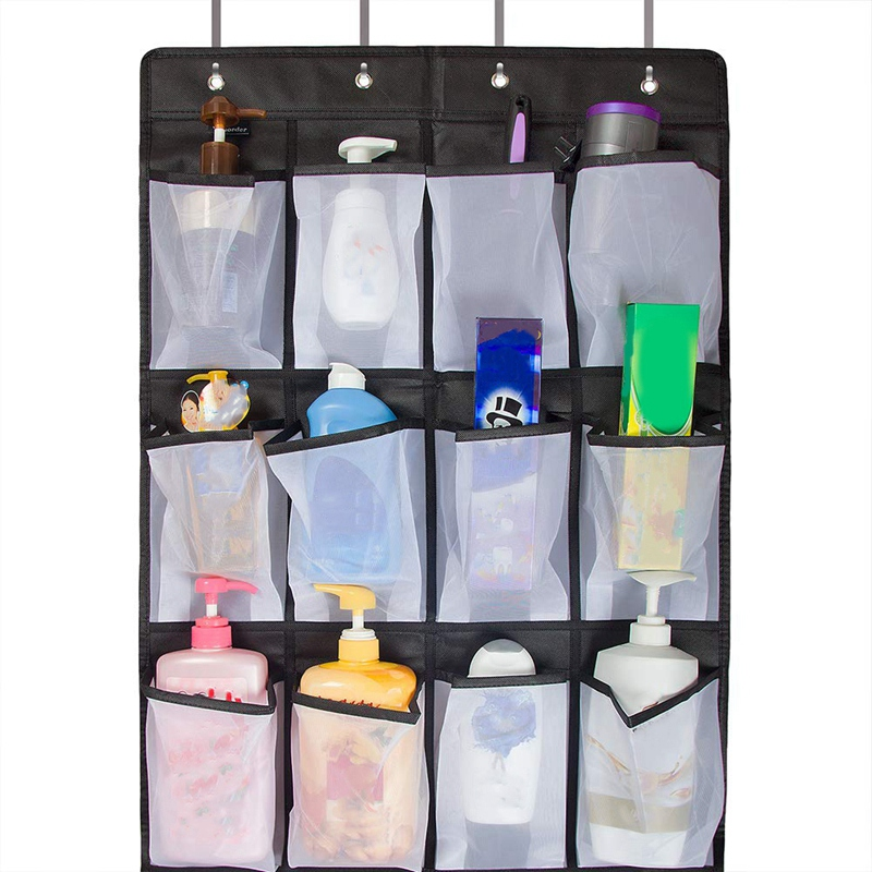Clear Hanging Shoe Organizer Over The Door 24 Large Pockets to Keep Shoes and Bottles 8