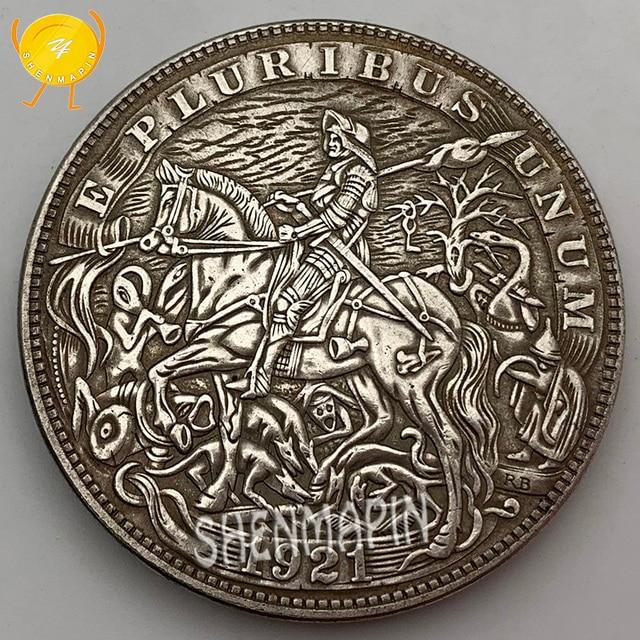 Moneda conmemorativa de plata de cobre blanco de caballero americano 1921 monedas de un dólar coleccionables Moneda de desafío de la libertad de los Estados Unidos