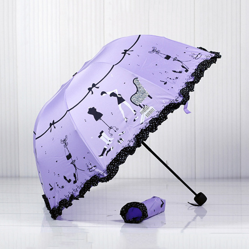Kocotree heart-shaped Princess new arched creative folding umbrella sun umbrella lace parasol umbrella rain women guarda chuva