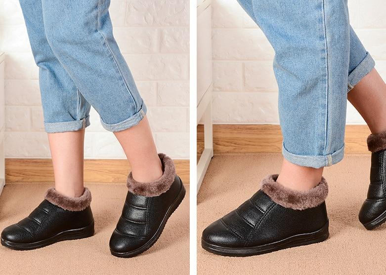 HUANQIU 2018 pamuklu ayakkabılar kadın düz kaymaz pamuk çizmeler süper sıcak ayakkabı PU Deri su geçirmez çizmeler kadın ayakkabıları ZLL486