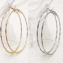 1Pair Simple Gold Silver Plated Big Hoop Earring Women Statement Fashion Jewelry Accessories Large Circle Round Loop Earrings