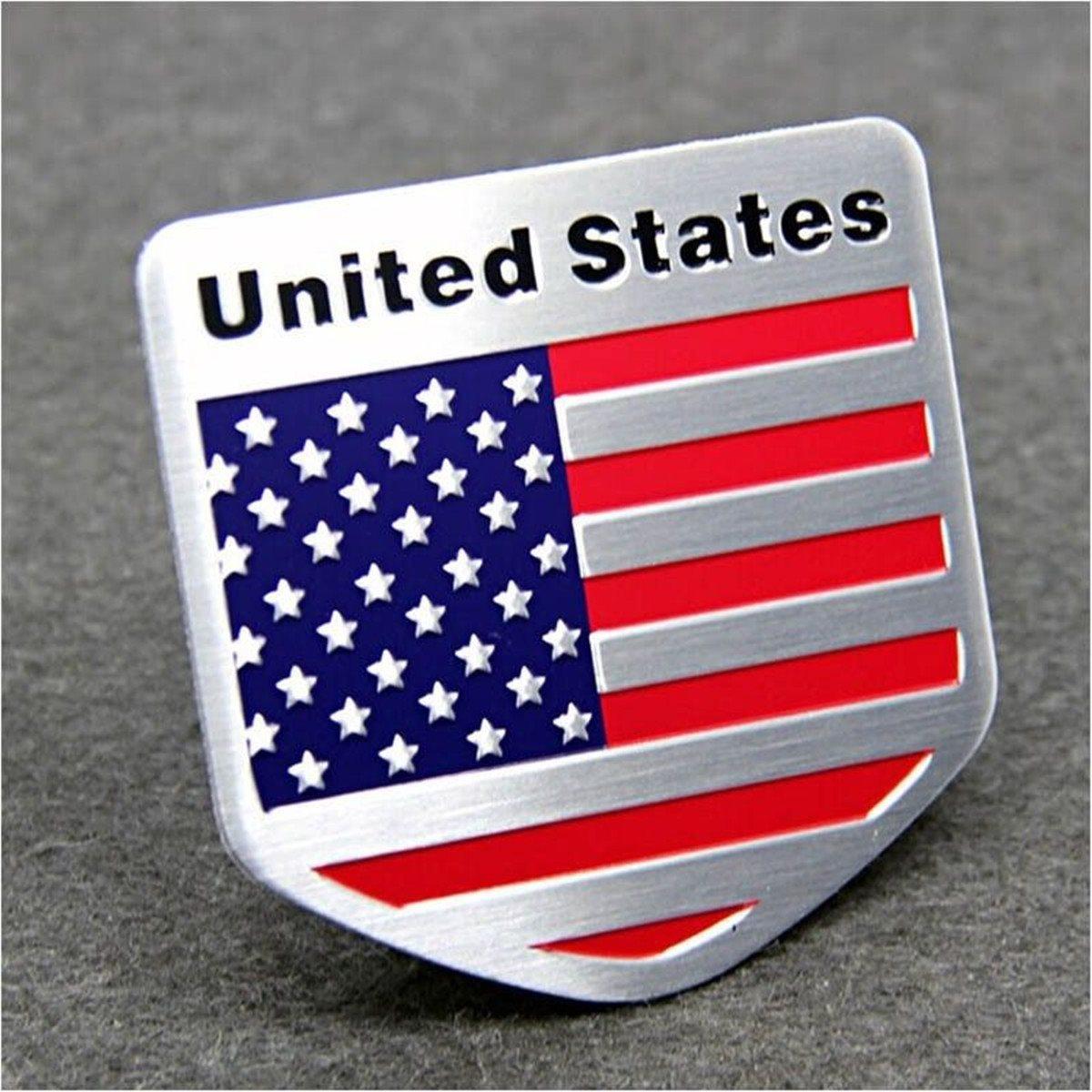 3D Alloy Metal US USA The United States American Flag Sticker Logo Car Auto Sport Badge Chrome Emblem Decals Car Styling 5*5cm