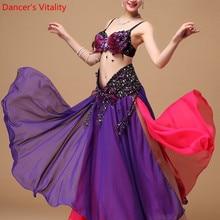 2018 nowy wydajność orientalne taniec brzucha kostiumy do tańca zestaw 3 sztuk z piór biustonosz pasek spódnica szyfonowa kostium Bellydance