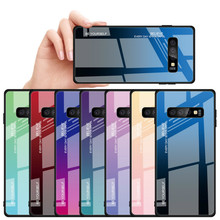XINDIMAN Colorful Gradient tempered glass case for samsun galaxy S10 S10plus anti-knock backcover samsung S10E capa