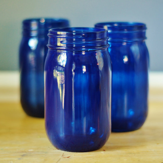 5 Inch Tall Cobalt Mason Jars Flower Vase Set Of 12pcs