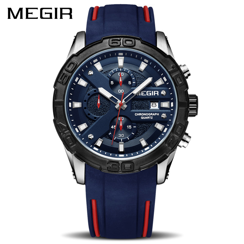 MEGIR Fashion Sport Men Watch Relogio Masculino Brand Silicone Army Military Watches Clock Men Quartz Wrist Watch Hour Time Saat geneva watches men 2017 binger fashion brand quartz clock army military sport watch digital wristwatches relogio masculino