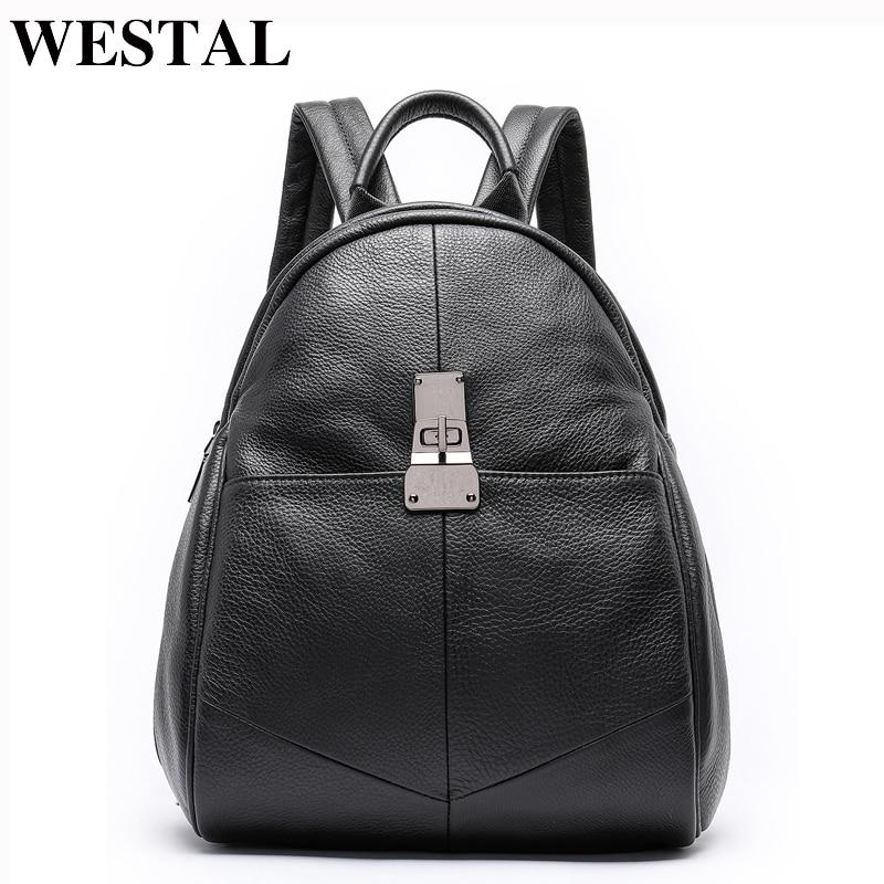 WESTAL women backpack genuine leather school bags for teenage girls bagpack black travel backpack for laptop