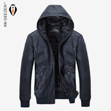 Kış deri ceket erkekler sıcak PU polar ceketler Coats Hood marka kadife mont yüksek kaliteli iş Slim İş siyah