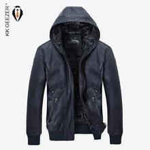 겨울 가죽 자켓 남자 따뜻한 PU 양털 재킷 코트 후드 브랜드 벨벳 코트 고품질 비즈니스 슬림 비즈니스 블랙