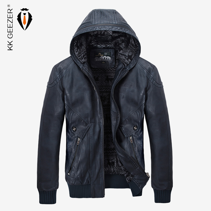 Winter Leather Jacket Men Warm PU Fleece Jackets Coats Hood Brand Velvet Coats High Quality Business Slim Business Black