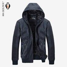 Zimowa skórzana kurtka mężczyźni ciepłe PU kurtki z polaru płaszcze kaptur marki aksamitne płaszcze wysokiej jakości elegancka typu Slim Business Black