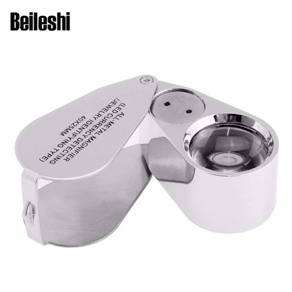 Beileshi 40X Jeweler Magnifier Illuminated LED UV Light Full Metal Loupe Magnifier with Construction and Optical Glass Lens