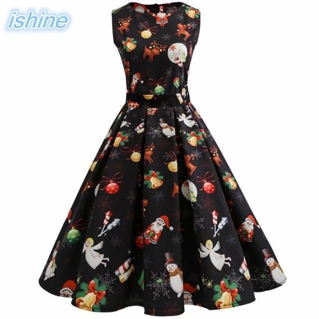 Vintage Autumn Winter Dresses Christmas Party Dress Women Retro Hepburn  Style 2017 O neck Sleeveless Swing Party Dresses Female-in Dresses from  Women s ... 3254eaf64