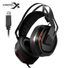 цена на Xiberia S18 PC Headphone 7.1 Surround Sound USB Gaming Headset Stereo Bass Casque with Microphone Led Light for Computer Gamer
