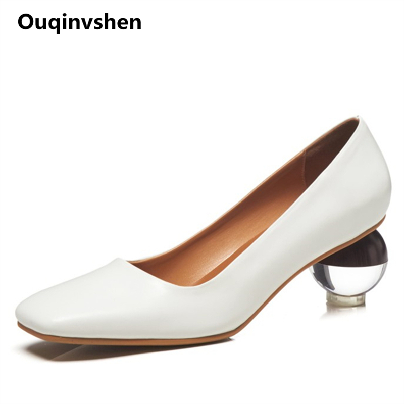 Ouqinvshen Wood Spherical Heels Clear Heels Fashion Plus Size 33-43 White Elegant Shallow High Heels Shoes Square Toe Women Pump ouqinvshen spherical heel mules shoes round toe plus size 34 43 genuine leather yellow white ladies shoes fashion slippers women