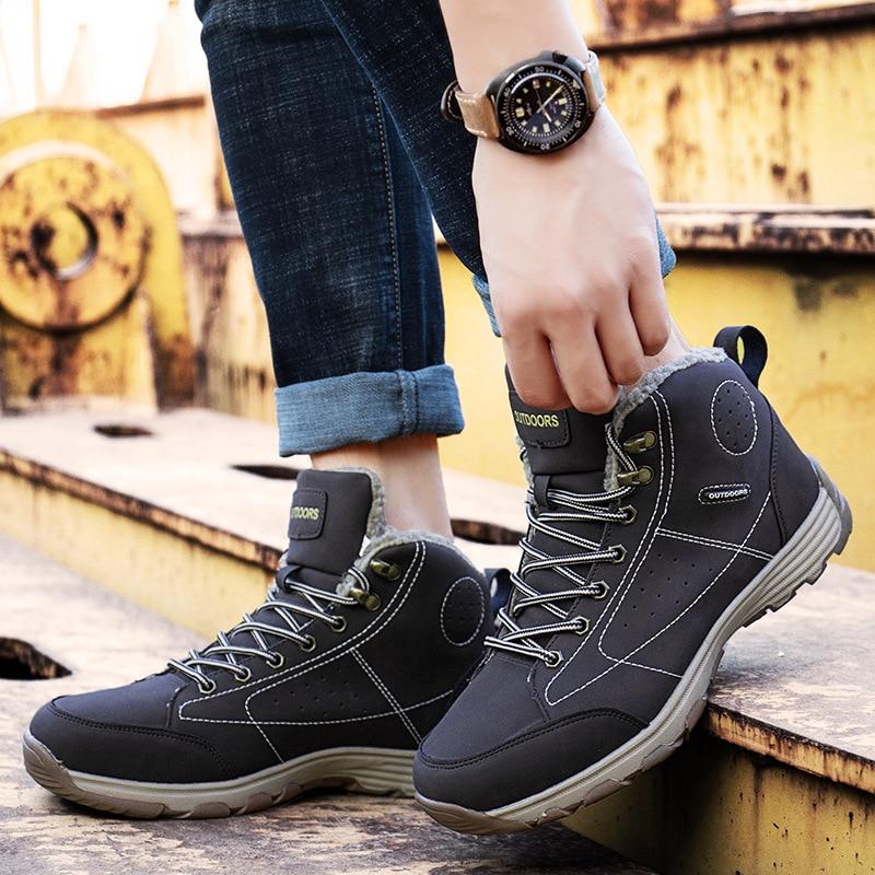 Männer Stiefel Winter Mit Pelz 2018 Warme Schnee Stiefel Männer Winter Stiefel Arbeit Schuhe Männer Schuhe Mode Gummi Ankle Schuhe 39-46