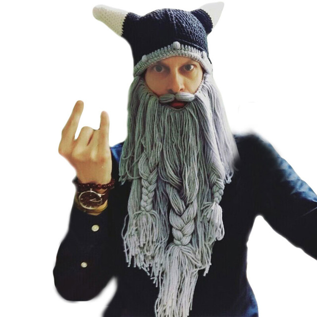 f02dff76c38 Funny Crazy Holiday Party Men Knit Viking Beard Horn Hat Ski Cap Halloween  Barbarian Vagabond Cool