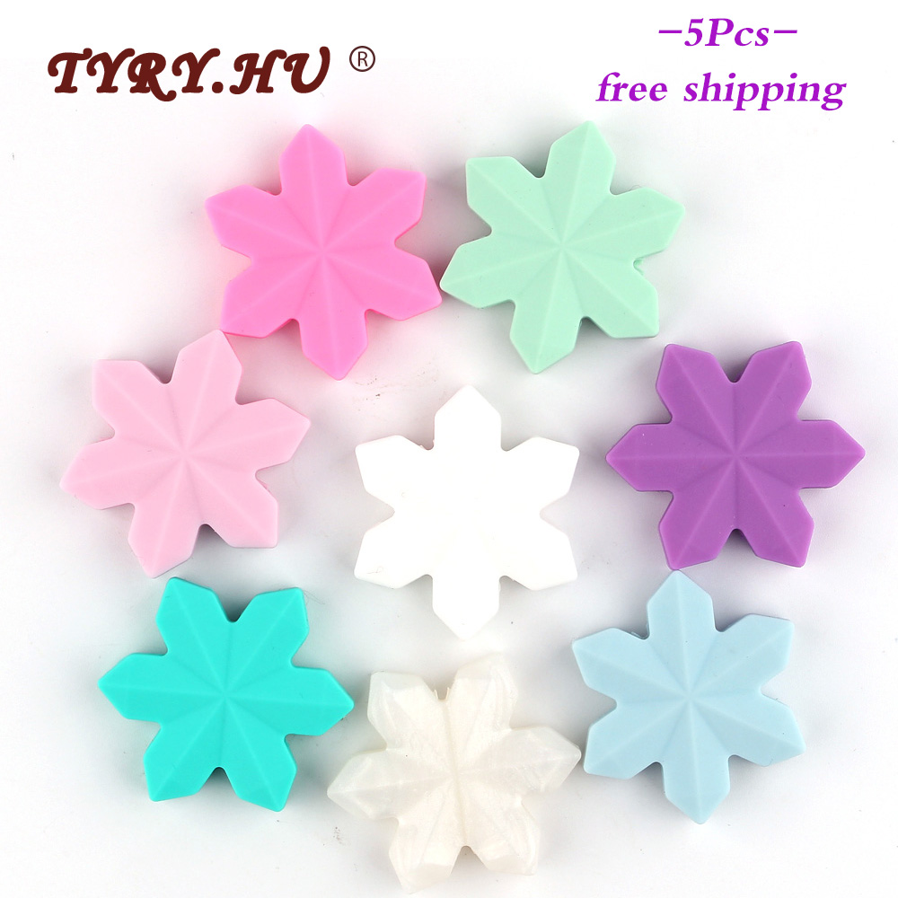 TYRY.HU 5pcs Cartoon Snowflake Silicone Beads Food Grade Baby Teethers Silicon Bites BPA Free Rodents DIY Baby Teething Necklace