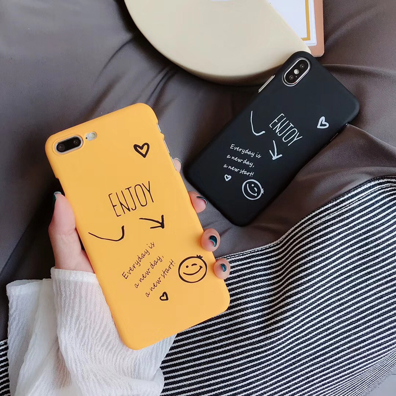 Smiley new day phone case for iPhone XR XS MAX 6 s 7 8 Plus Scrub new men and women case For iPhone XS Max XR Covers i Phone in Fitted Cases from Cellphones Telecommunications