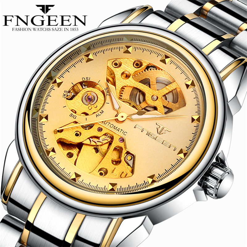 2018 Skeleton Men's Watches Top Brand Luxury Gold Watch Automatic Mechanical Wristwatch Male Clock Waterproof Relogio Masculino 2017 winner top brand luxury blue men watch automatic skeleton mechanical wristwatch male man watches hour relogio masculino