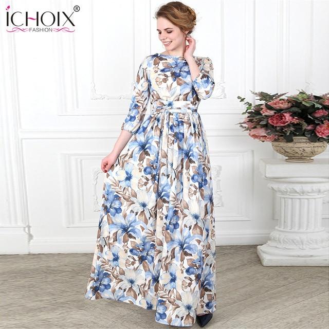 09b09fff9ec4 Autumn Bohemian Women Long Dresses Sahes Vintage Chiffon Floral Print Floor  Length Dress 2018 Female Maxi Party Dress Vestidos