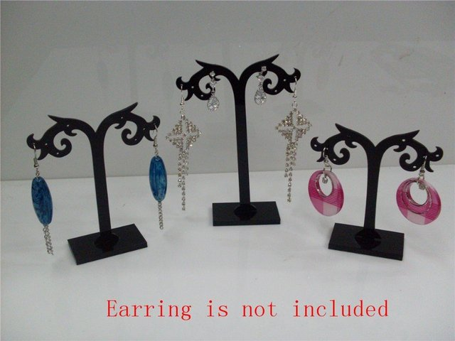 Wholesale Free Shipping 12 Set Black Acrylic Earring Tree Shaped Jewelry  Display Stand Holder