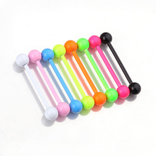 1Pcs Neon Color Random Stainless Steel Acrylic Ball Tongue Bars Ring Ear Nail Clasp Bone Barbell Body Piercing Jewelry Tong