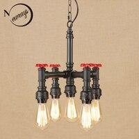 Ferro do vintage retro preto pendurar lâmpada LED lâmpada Pingente Luminária 5 E27 220V Para As Luzes Da Cozinha sala de estudo sala de jantar bed room Luzes de pendentes     -