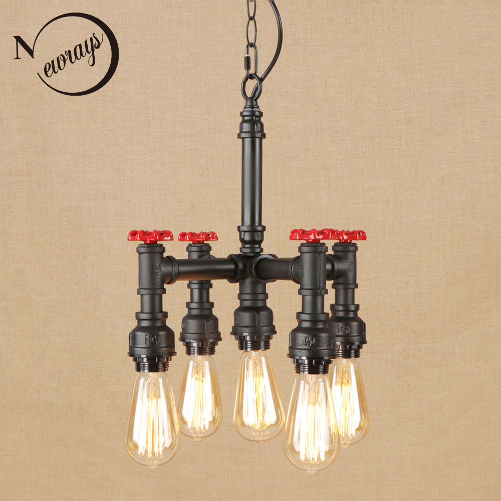 Vintage iron retro black hang lamp LED 5 lamp Pendant Light Fixture E27 220V For Kitchen Lights cafe study dining room bed room стоимость
