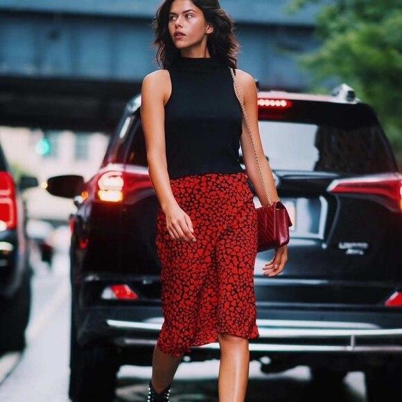 dbd068e32de9b6 90 S Slip Skirt 100 Silk Satin Naomi Sid Fishtail Deep Orange Coloured  Hearts Midi Skirt