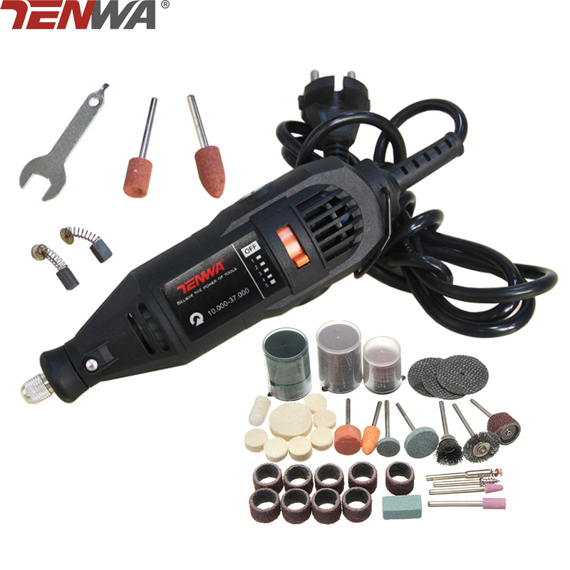 TENWA Mini Drill Dremel Style Electric Rotary Tool Engrave Grinder Variable Speed With 110pcs Accessories DIY Kits