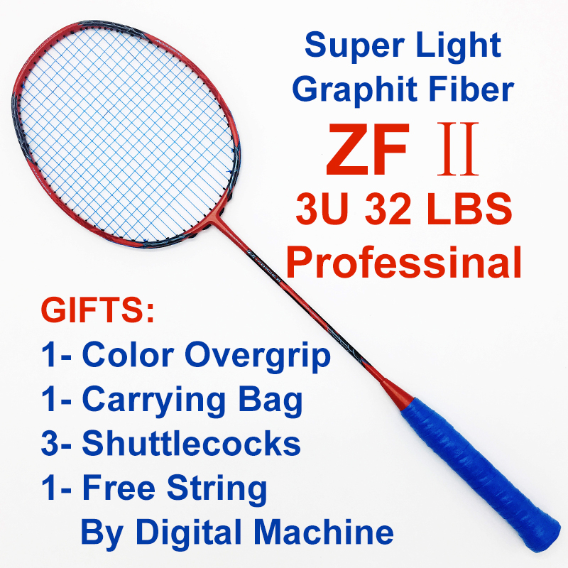 High Quality ZF2 Superlight Professional Badminton Racket Carbon Fiber 4U High Tension Badminton Racquet With String For Adult badminton racket n92 professional carbon fiber 4u high quality super light offensive badminton racquet string grip shuttlecock