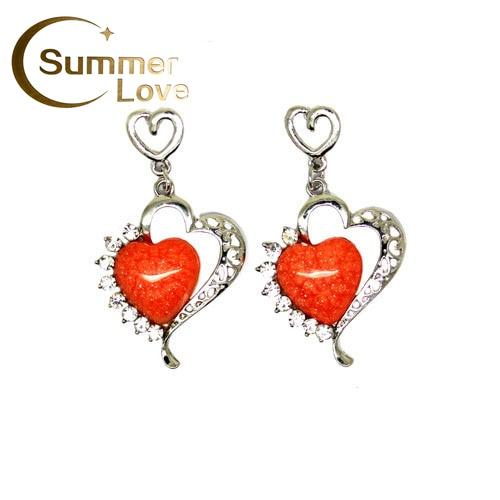 Minimum Order $6 Cheap Jewelry Wholesale 2013 Women New Hot Heart Drop Earring Crystals Wedding E218