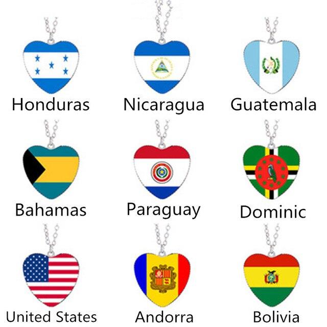 Andorra Bahamas Paraguay Bolivia Dominica Honduras United States Nicaragua Guatemala Flag Necklace