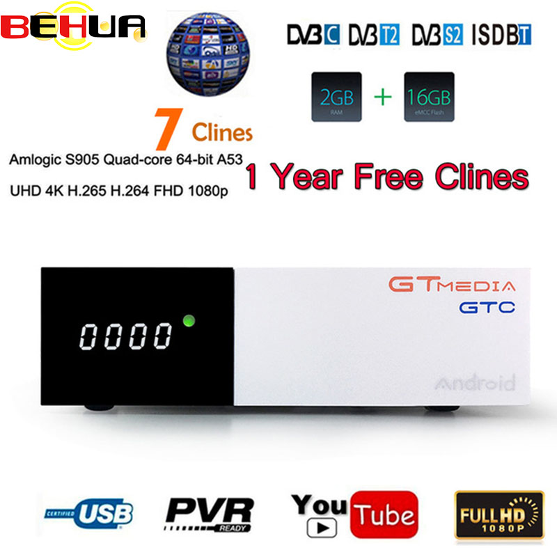 [Genuine] GTC decoder DVB-S2 DVB-C DVB-T2 ISDB-T Amlogic S905D android 6.0 TV BOX 2GB 16GB BT4.0 Satellite Receiver Receptor GTC[Genuine] GTC decoder DVB-S2 DVB-C DVB-T2 ISDB-T Amlogic S905D android 6.0 TV BOX 2GB 16GB BT4.0 Satellite Receiver Receptor GTC