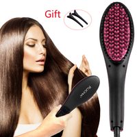 EU US UK TV Hot Ceramic Straightening Brush Electric Degital Control Antiscaled Fast Hair Straightener Brush