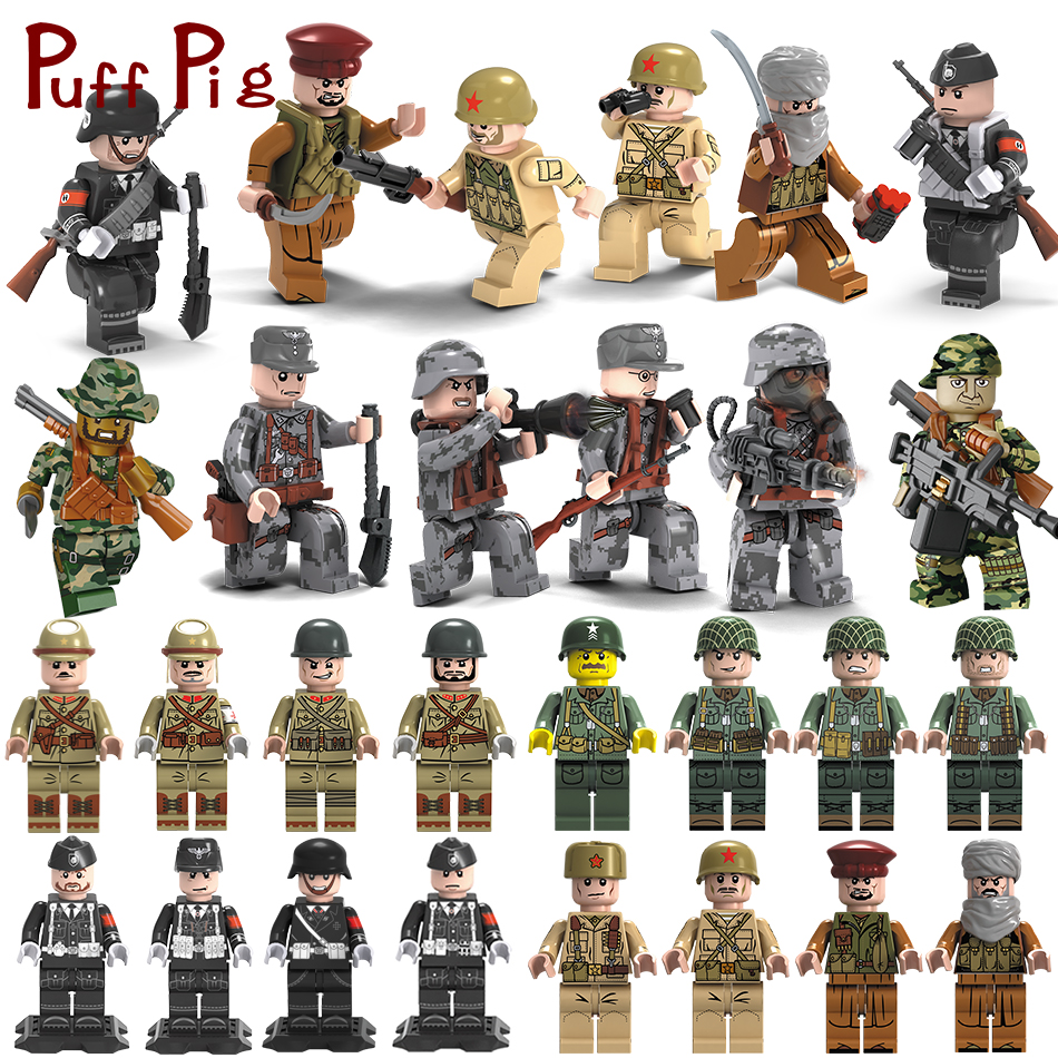 Military Swat Team City Police Armed Assault Army soldiers With Weapons Guns Compatible Legoed Figures WW2 Building Blocks Toys 6pcs swat special forces police the wraith assault cs with motorcycles weapons figures building blocks bricks toys for kids